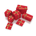 Composition of red gift boxes on white background with gold ribbons in Royalty Free Stock Images