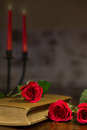 Composition of romantic equip diary with roses some candles background Stock Image