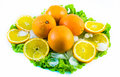 Composition of sliced oranges with ice and salad on a white background Royalty Free Stock Photo