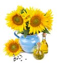 Composition with sunflowers and sunflower oil Royalty Free Stock Photo