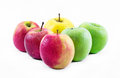 Composition of three types of apples on a white background - green, yellow and red - still life Royalty Free Stock Photo