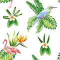 Composition of tropical bird flowers and plants white background