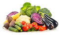 Composition with variety of fresh raw organic vegetables Stock Image