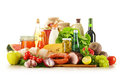Composition with variety of grocery products Stock Images