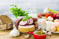 Composition variety grocery products meat dairy Royalty Free Stock Photo