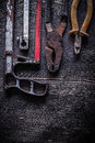 Composition of vintage handsaw nippers pliers construction concept Royalty Free Stock Images
