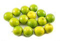 Composition of a yellow and green lemons and lime on a white background lined next to each other - top view Royalty Free Stock Photo