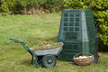 Compost bin waste organic and mulch in a autumn garden Royalty Free Stock Photo