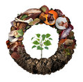 Composte life cycle symbol and a composting stage system concept as a pile of rotting kitchen fruits egg shells bones and Stock Image