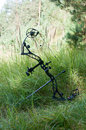 Compound bow on grass Royalty Free Stock Photo