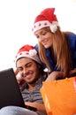 Compras en línea de la Navidad Foto de archivo libre de regalías