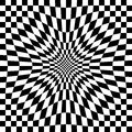 Compressed optical check checkerboard pattern in black and white repeats seamlessly Stock Image