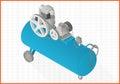 Compressor flat vector 3d illustration