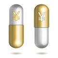 Comprimidos da cápsula com yen signs Fotografia de Stock