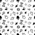 Computer arrow cursors on white, seamless pattern Royalty Free Stock Photo
