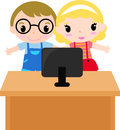 Computer with cartoon kids illustration of Stock Images
