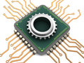 Computer chip and gear Royalty Free Stock Photo