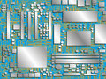 Computer chip panel. Conventional image. Vector illustration. Conditional image of the motherboard in different colors.