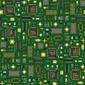 Computer IC chip template microchip seamless pattern background circuit board design abstract background vector