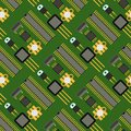 Computer chip technology processor circuit motherboard information system seamless pattern background vector