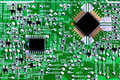 Computer chips and circuit board close up Royalty Free Stock Images