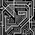 Computer circuit board seamless pattern Royalty Free Stock Photo
