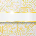 Computer circuit board with wiring and golden band bright Stock Photos