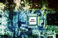 """Computer circuit board with word """"DATA BREACH"""" over abstract background Royalty Free Stock Photo"""