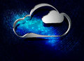 Computer cloud on blue background