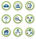 Computer cloud icons set Royalty Free Stock Photo