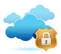 Computer cloud protected by gold shield Stock Photo
