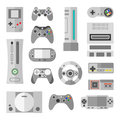 Computer console with game controllers for video games. Vector illustrations in cartoon style