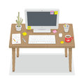 Computer desk detailed isometric workplace with and other peripherals Royalty Free Stock Photos
