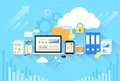 Computer device data cloud storage security flat Royalty Free Stock Photo
