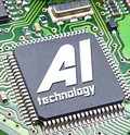 Computer digital ai artificial intelligence printed circuit board pcb information data electronics electrical system Royalty Free Stock Photo