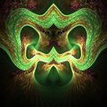 Computer digital fractal art, fantastic abstract shapes, terryfying green mask with ears and nose Royalty Free Stock Photo