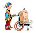 Computer disabled wheelchair wheelchair boy Royalty Free Stock Photo