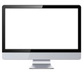 Computer display with blank white screen isolated Royalty Free Stock Photos