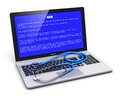 Computer error concept business laptop or office notebook pc with message on blue screen and stethoscope on keyboard on white Stock Photos