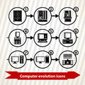 Computer evolution icons with from first lamp to quantum Stock Photography