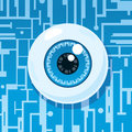 Computer eyeball on circuit board depicting spyware or surveillance Royalty Free Stock Photography
