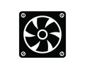 Computer fan vector black icon on white background Royalty Free Stock Images