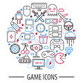 Computer game icons in round circle vector illustration isolated