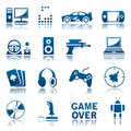 Computer games icon set of icons Stock Images