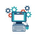 Computer gears website icon. Media design. Vector graphic