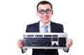 Computer geek nerd in funny concept Stock Photos