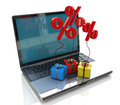 Computer gift percentages registration information related to discount technology Royalty Free Stock Photo