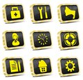 Computer golden web icon set Royalty Free Stock Images