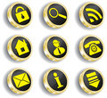 Computer golden web icon set Royalty Free Stock Photography