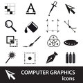 Computer graphics black symbols icon set Royalty Free Stock Photo